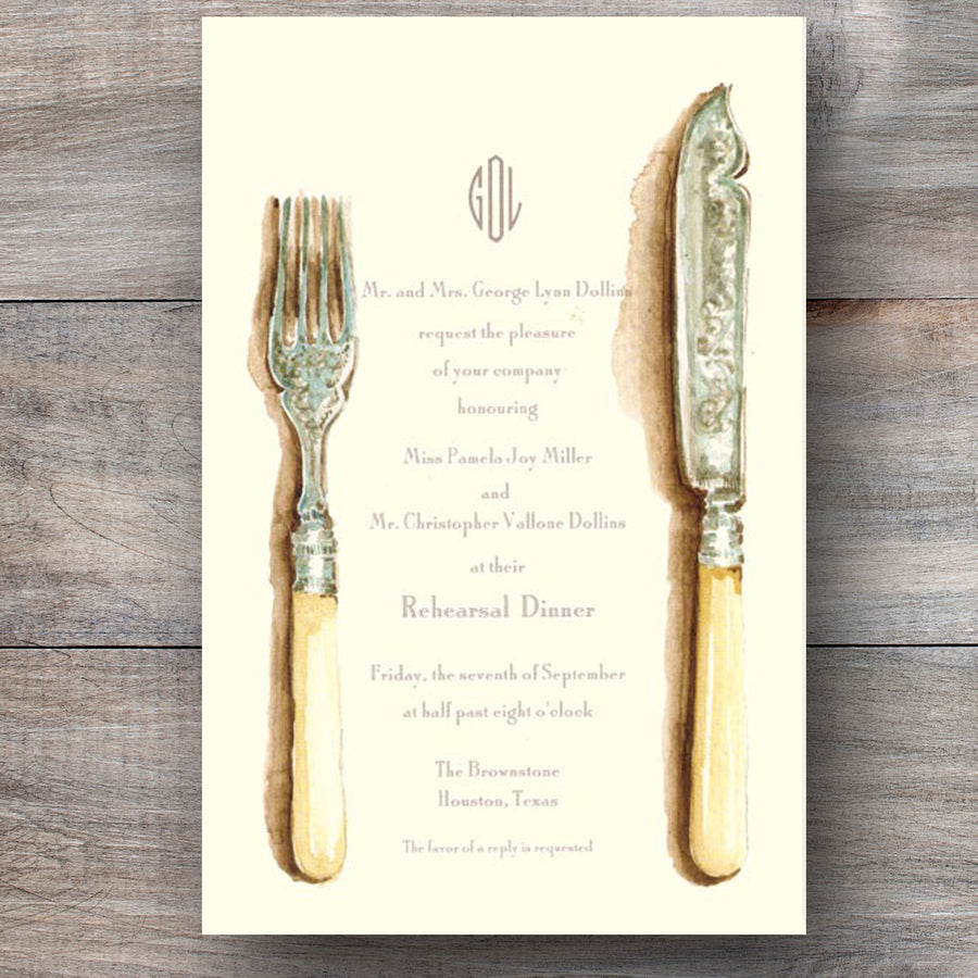wedding rehearsal dinner invitations with flatware crafted with ivory handles
