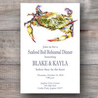 crab seafood party invitations with blue crab
