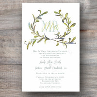 Christmas party invitations with kissing bough, a popular holiday decoration