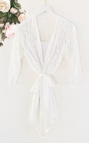 white lace robe gift for bride