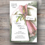 luncheon invitations with pink napkin and personalized tag