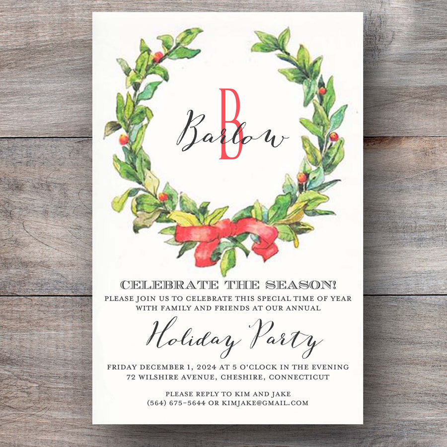Christmas party invitations with laurel wreath and festive red bow