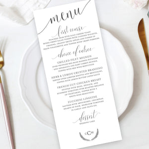 Laurel Wreath Wedding Reception Menu Insert Image