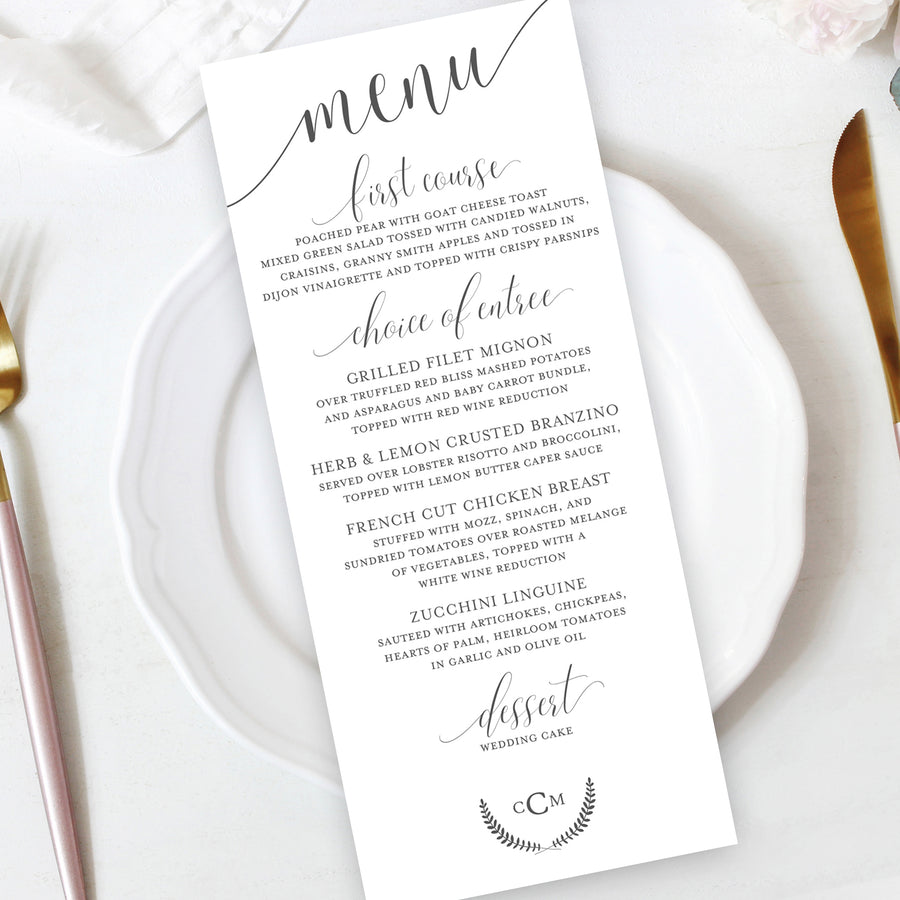 Laurel Wreath Wedding Reception Menu