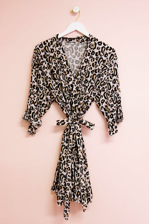 Leopard Pattern Bridal Party Robe