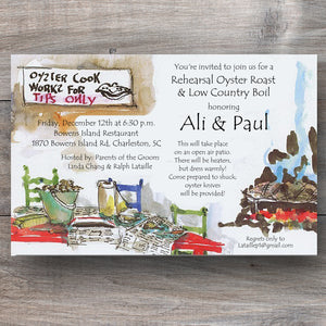 oyster roast invitations with open burning coals and newspapers on tables