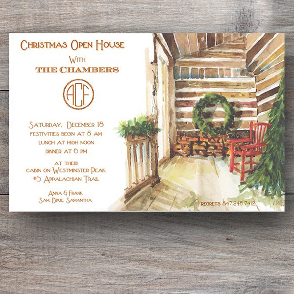Christmas invitation with log cabin and Christmas tree