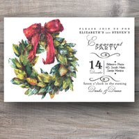 Christmas invitations with magnolia wreath and red bow