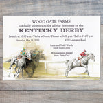 Kentucky Derby Invitations with white horse making a move to the finish line