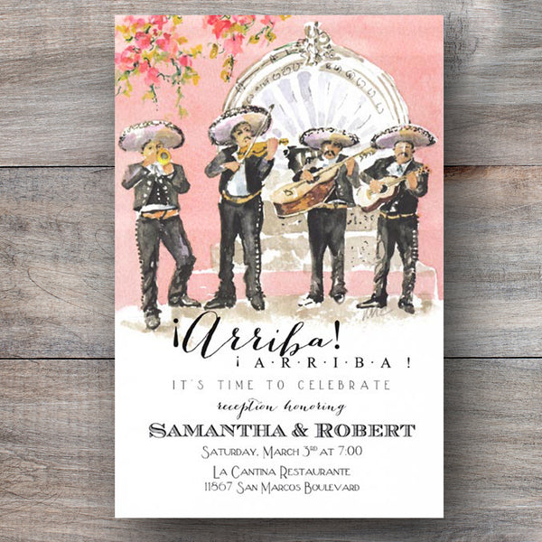 Mexican rehearsal dinner invitations with authentic mariachi band