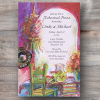 mexican dinner invitations with authentic restaurant table and decor