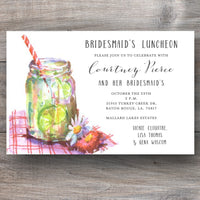 summer party invitations with mason jar and paper straw