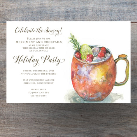 Christmas Cocktail Party Invitations with Holiday Mule in Copper Mug