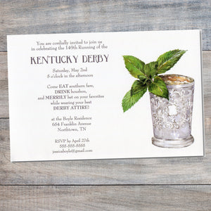 Kentucky Derby Invitations with silver cup and sprig of fresh mint