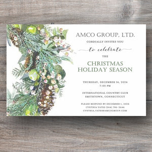 holiday party invitations with botanical green wreath