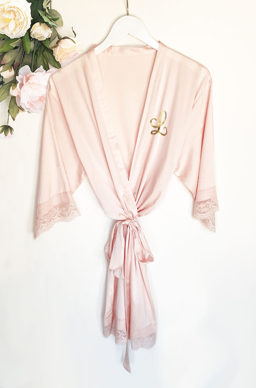 Monogram Satin Lace Robe Bridal Party Gift Blush Main