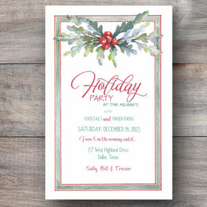 Christmas party invitations with holiday greenery and seasonal berries