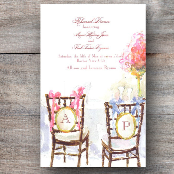 wedding rehearsal dinner invitations with decorated chiavari charis