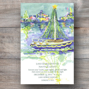 Christmas nautical boat parade invitations with boat decorated with Christmas lights