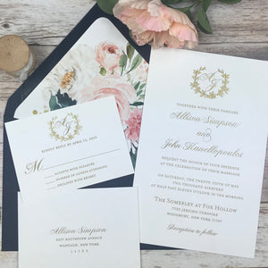 navy, blush and gold wedding invitation suite