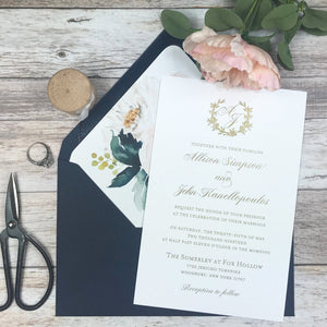 navy blue, blush and gold thermography wedding invitations