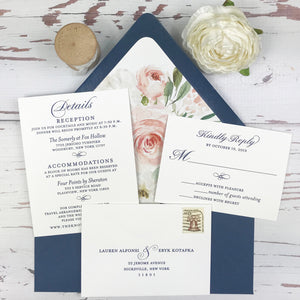 navy and blush letterpress wedding invitation suite