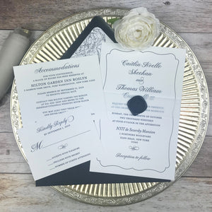 navy and white letterpress wedding invitations with insert cards