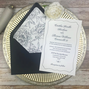 navy and white letterpress wedding invitations