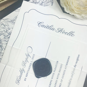 close up of personalized navy wax seal