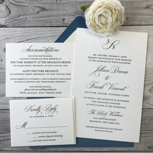letterpress wedding invitation with blue envelope