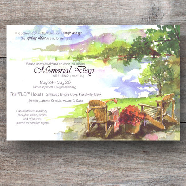 lake invitations with two Adirondack chairs sitting side by side near the lake