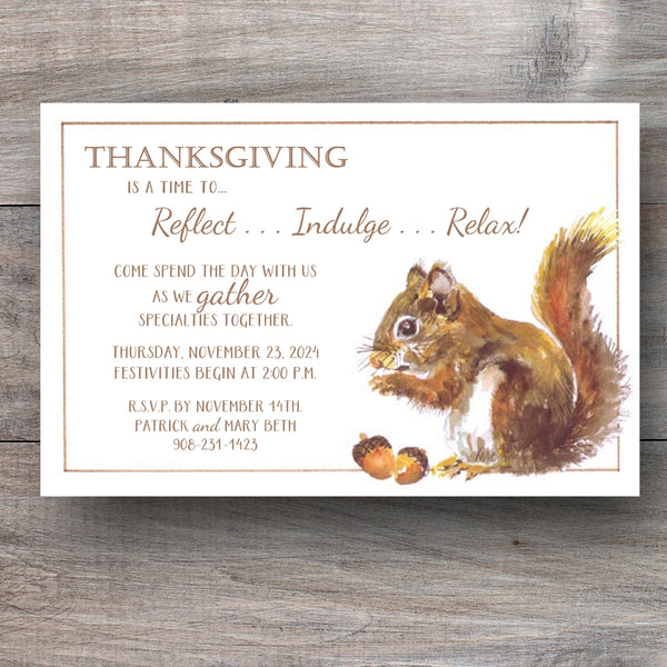 autumn invitations with squirrel nibbling on acorns