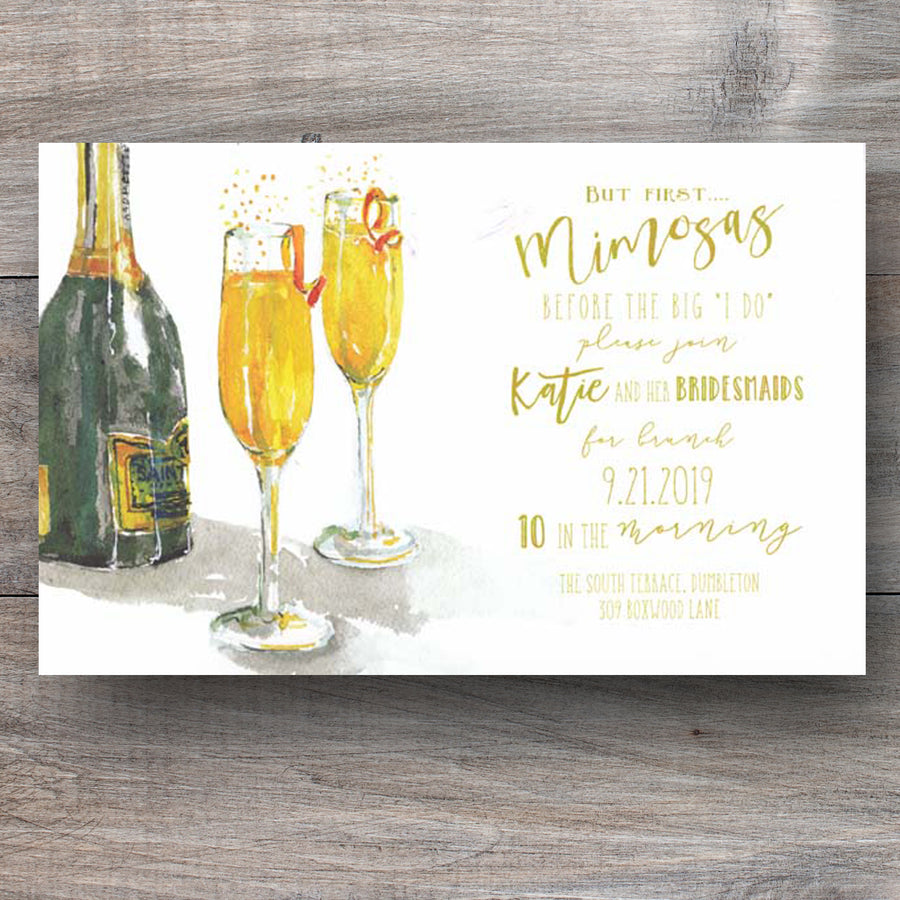 post wedding breakfast invitations with bottle of champagne and two flutes