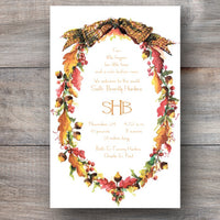 Oak Wreath Thanksgiving Autumn Themed Party Invitations