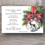 Christmas invitations with deer and red bow