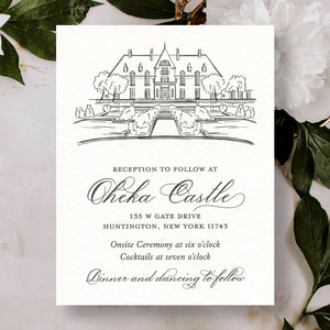 Oheka Castle Hand Sketched Wedding Reception Card