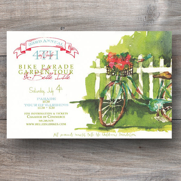 summer party invitations with vintage huffy bike