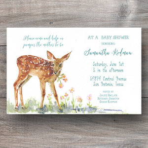 baby shower invitation with fawn taking nibble of flowers