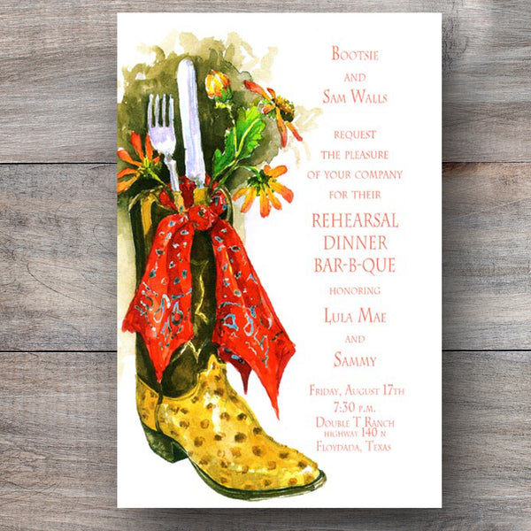 country western rehearsal dinner invitations with leather boot and daisies