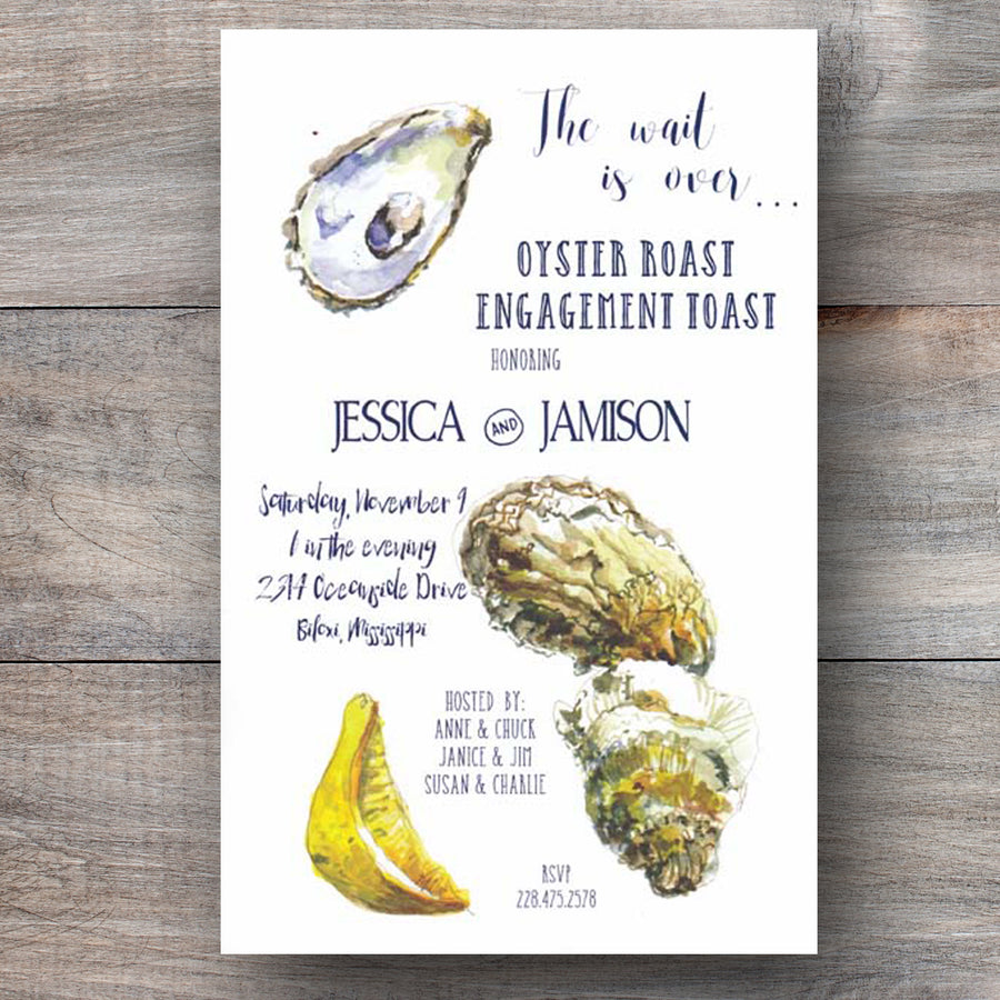 oyster roast invitations with oysters and lemon wedge