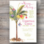 tropical Christmas party invitations with palm tree with ornaments