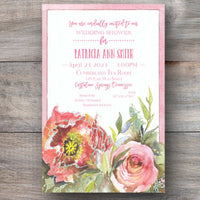 bridal shower invitations with pastel colored flower in full bloom