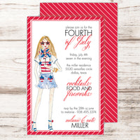 4th of July party invitations with stylish party goer wearing red white and blue