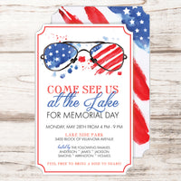 4th of July party invitations with summer shades and the American flag