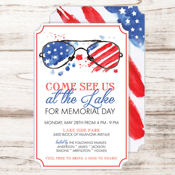 patriotic glasses 4th of july party invitations celebration bliss