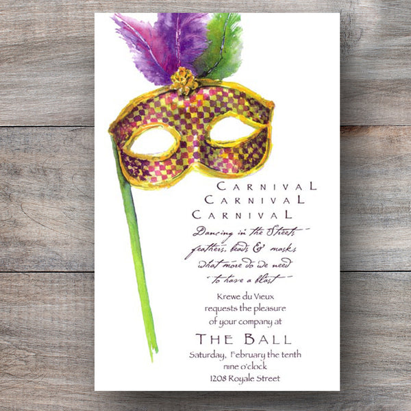 Mardi Gras party invitations with eye mask decorated with feathers