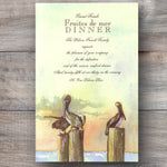 seafood dinner party invitations with pelicans resting on wooden posts