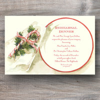 Christmas dinner invitations with candy cane and holiday foliage