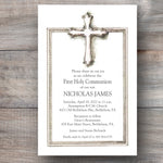 First Holy Communion invitations with traditional pewter cross