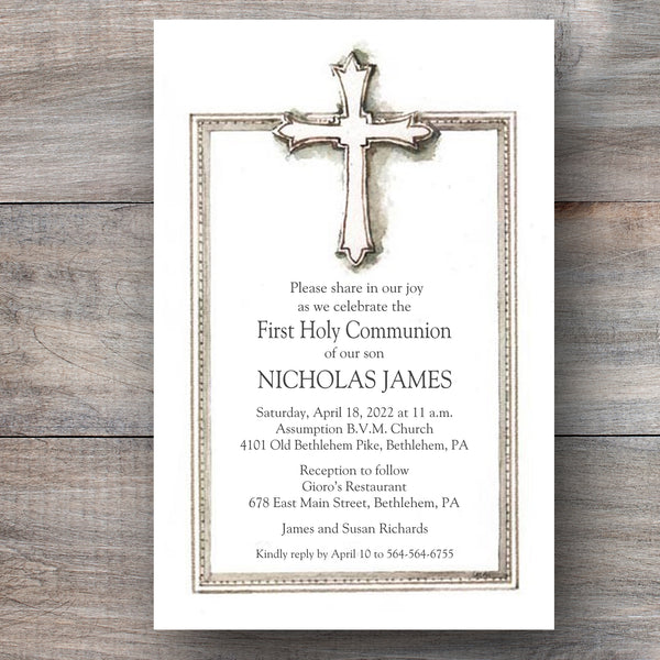 Sacred Chalice First Holy Communion Invitations Celebration Bliss